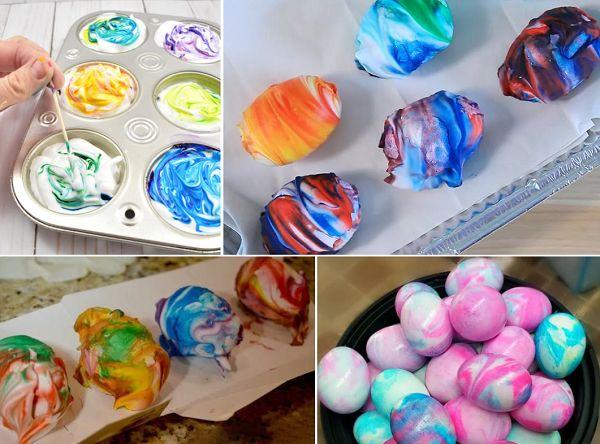 Окрашивание яиц с помощью пены для бритья и красителей