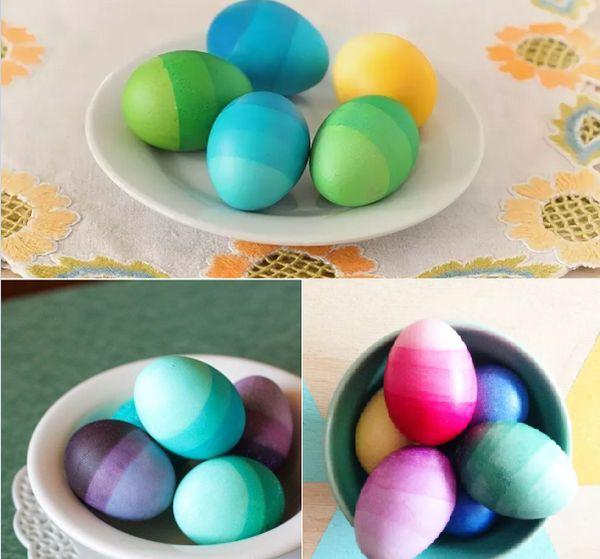 Покраска пасхальных яиц градиент
