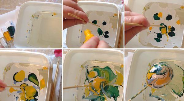 Окрашивание яиц с помощью лака для ногтей