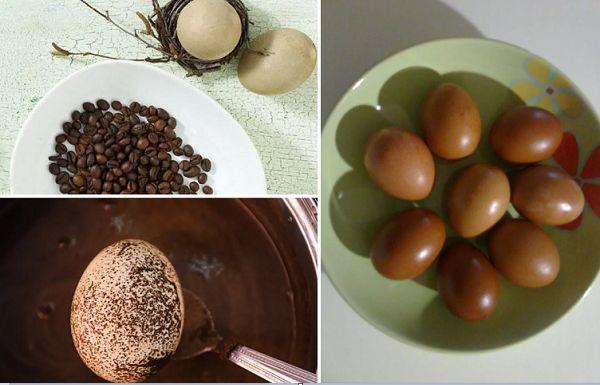 Окрашивание яиц в кофейной гуще