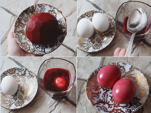 Окрашивание яиц свеклой