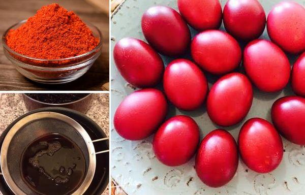 Покраска яиц паприкой