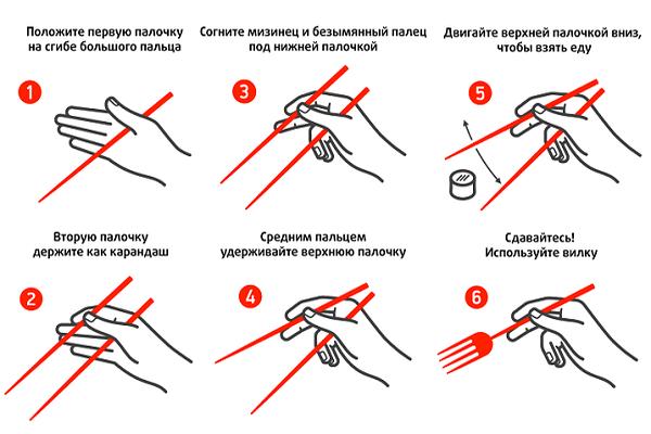 Пошаговая инструкция Как есть палочками