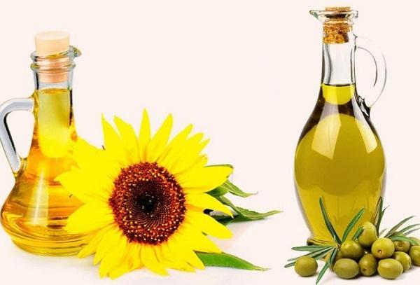 Масло оливковое и подсолнечное